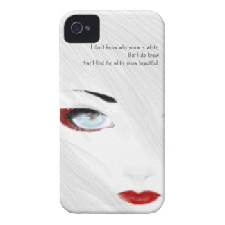Caja blanca del teléfono del geisha de la nieve iPhone 4 protectores