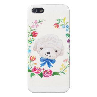 Caja blanca del teléfono del perro de perrito de B iPhone 5 Carcasas