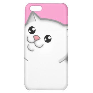 Caja blanca gorda feliz del iPhone 4 del gato