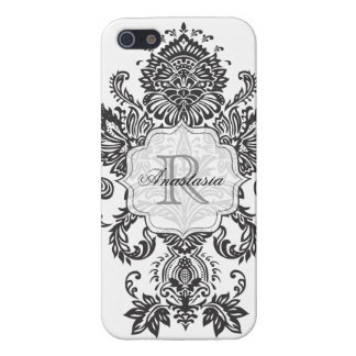 Caja blanca negra barroca del monograma de Iphone  iPhone 5 Funda