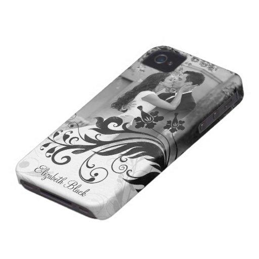 Caja blanca negra del iPhone 4 de la plantilla de