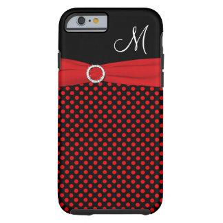 Caja blanca negra roja del iPhone 6 de los lunares Funda De iPhone 6 Tough