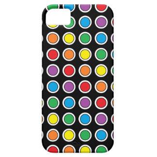 Caja blanca, negra y del arco iris de los lunares funda para iPhone SE/5/5s