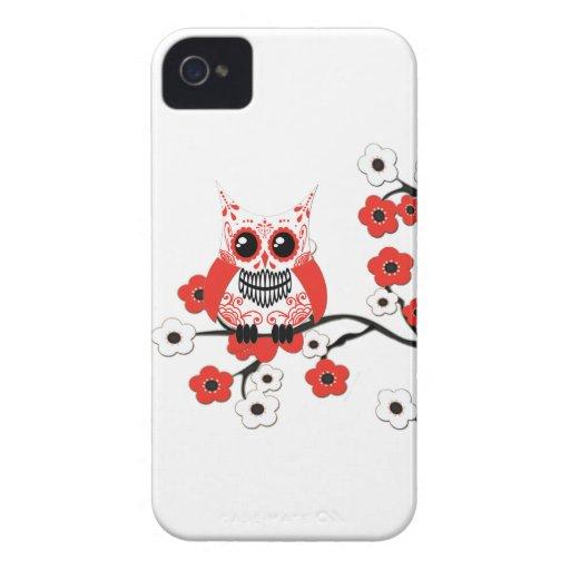 Caja blanca roja del búho de las flores de cerezo iPhone 4 carcasa