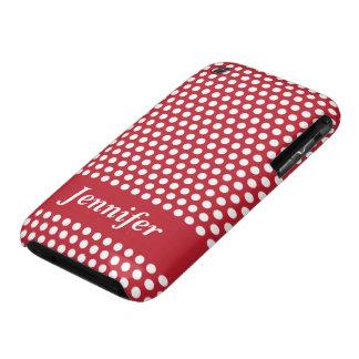 Caja blanca roja del iphone de los lunares de los iPhone 3 carcasas