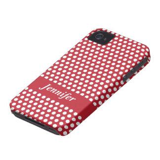 Caja blanca roja del iphone de los lunares del iPhone 4 Case-Mate coberturas