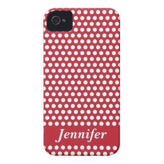 Caja blanca roja del iphone de los lunares del iPhone 4 protectores