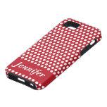 Caja blanca roja del iphone de los lunares del nom iPhone 5 cárcasa