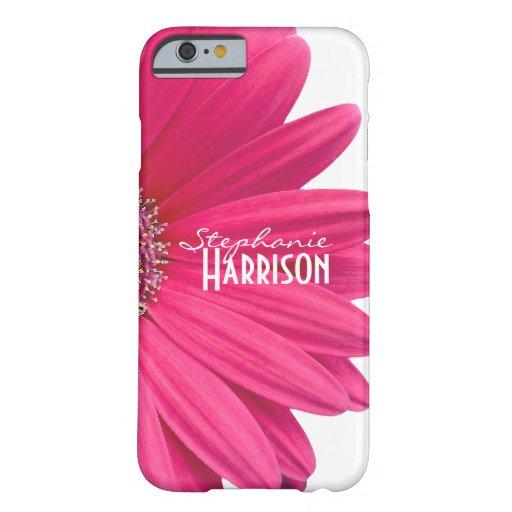 Caja blanca rosada del iPhone 6 de la margarita Funda De iPhone 6 Barely There