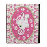 Caja blanca verde rosada floral del iPad del elefa