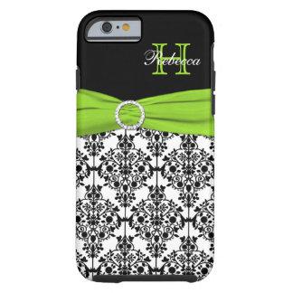 Caja blanca Vib del iPhone 6 del damasco del negro Funda Resistente iPhone 6