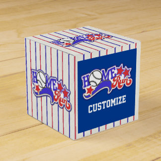 Caja blanca y azul roja del favor del cubo del cajas para regalos de boda