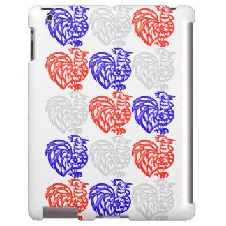 Caja blanca y azul roja del ipad del gallo funda para iPad
