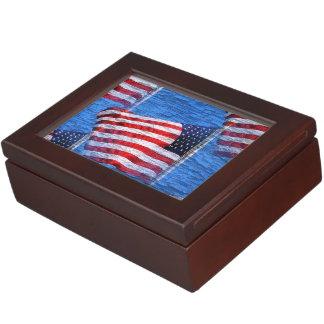 Caja blanca y azul roja del recuerdo de la bandera cajas de recuerdos