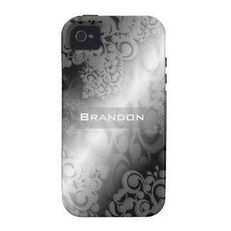 Caja blanca y gris negra de Iphone 4 Vibe iPhone 4 Funda