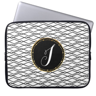 Caja blanco y negro con monograma del ordenador funda ordendadores
