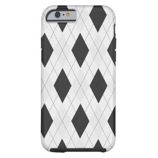 Caja blanco y negro de Argyle para el caso del Funda De iPhone 6 Tough