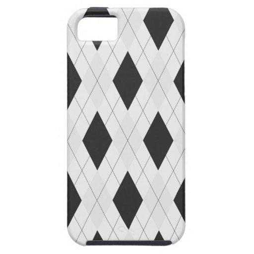 Caja blanco y negro de Argyle para el iPhone 5 iPhone 5 Fundas