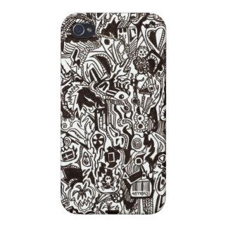 Caja blanco y negro del diseño del iPhone 4 4s iPhone 4/4S Fundas