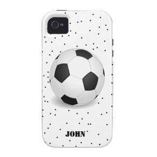 Caja blanco y negro del iPhone 4 del balón de fútb iPhone 4 Fundas