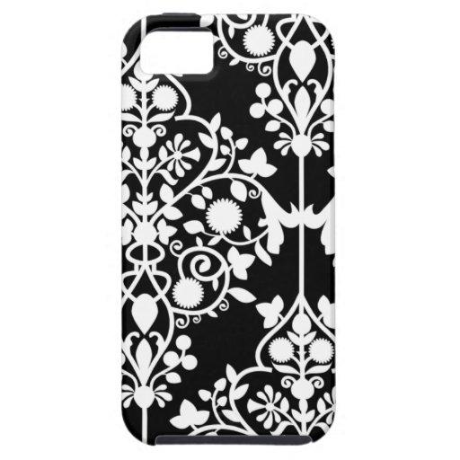 Caja blanco y negro del iPhone 5 del damasco iPhone 5 Protector