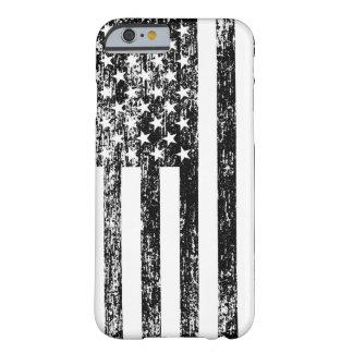 Caja blanco y negro del iPhone 6 de la bandera Funda Barely There iPhone 6