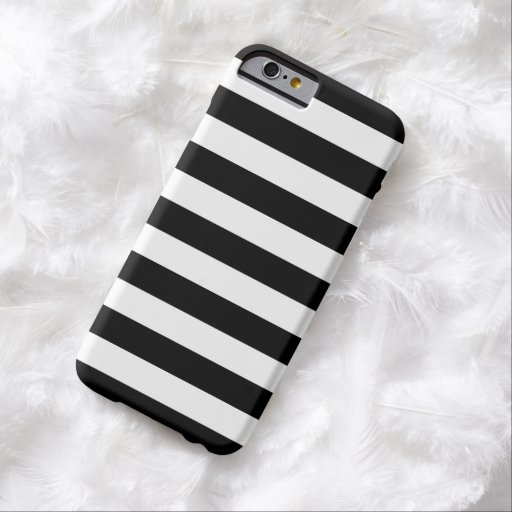 Caja blanco y negro del iPhone 6 de las rayas Funda De iPhone 6 Barely There