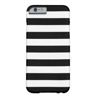 Caja blanco y negro del iPhone 6 de las rayas Funda Barely There iPhone 6