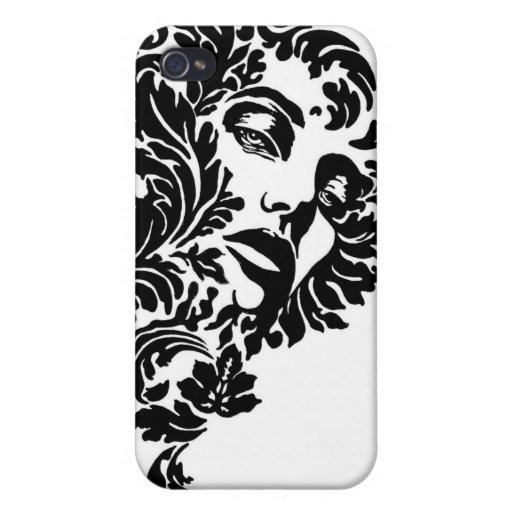 Caja blanco y negro del iPhone del damasco de la c iPhone 4 Carcasas