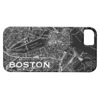 Caja blanco y negro del iPhone del mapa de Boston iPhone 5 Funda