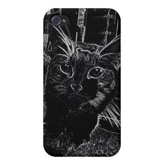 Caja blanco y negro hermosa del iphone 4 del gato iPhone 4 cárcasa