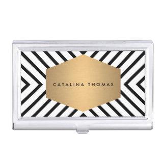 Caja blanco y negro retra del emblema del oro del caja de tarjetas de negocios