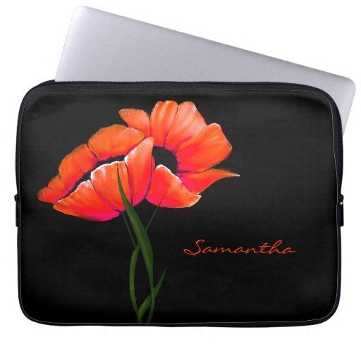 Caja bonita del ordenador portátil de las amapolas mangas portátiles