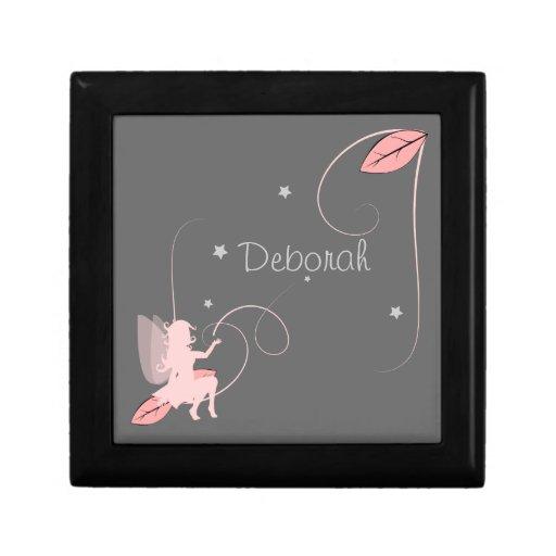 caja bonita pequeña hada en sombra rosada y estrel caja de recuerdo