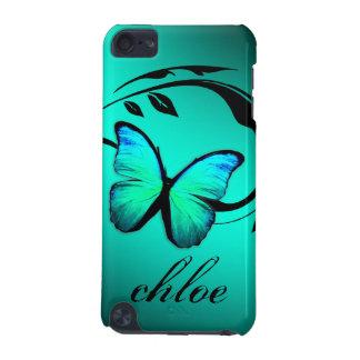 caja brillante de la turquesa de la mariposa del t funda para iPod touch 5G