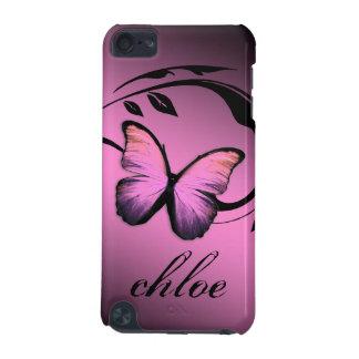 caja brillante del abadejo del rosa de la mariposa funda para iPod touch 5G