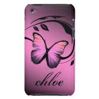 caja brillante del abadejo del rosa de la mariposa iPod touch carcasa