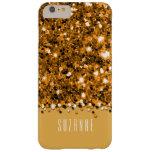 Caja brillante del confeti del brillo del oro funda de iPhone 6 plus barely there
