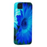 Caja brillante del iPhone 4 de la margarita azul iPhone 4 Protectores