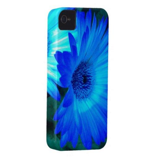 Caja brillante del iPhone 4 de la margarita azul Case-Mate iPhone 4 Carcasa
