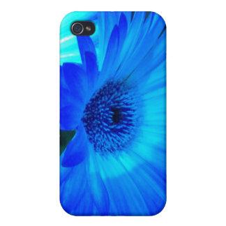 Caja brillante del iPhone 4 de la margarita azul iPhone 4 Cárcasa