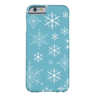Caja brillante del teléfono de los copos de nieve funda de iPhone 6 barely there