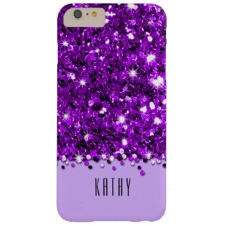 Caja brillante púrpura atractiva del confeti del funda de iPhone 6 plus barely there