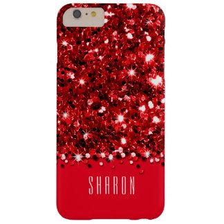 Caja brillante roja atractiva del confeti del funda de iPhone 6 plus barely there