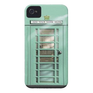 Caja británica del teléfono de la verde menta Case-Mate iPhone 4 coberturas