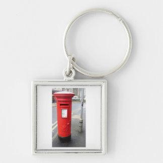 Caja británica roja del poste llavero cuadrado plateado