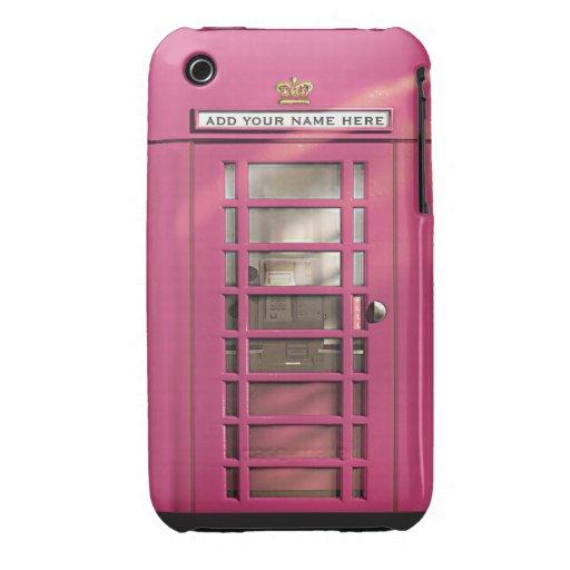 Caja británica rosada femenina divertida del teléf Case-Mate iPhone 3 carcasas