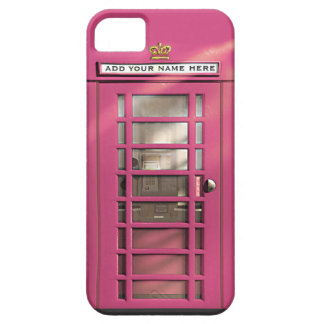 Caja británica rosada femenina divertida del teléf