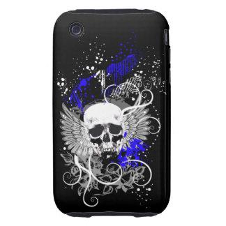 Caja coa alas gótico de la mota del cráneo del carcasa resistente para iPhone