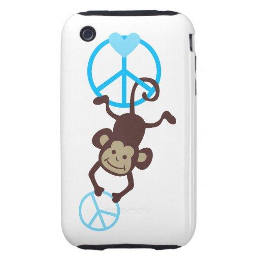 Caja colgante adorable del teléfono del mono de la iPhone 3 tough protector